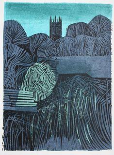 Robert Taverner, Linocut, Church, 1974.