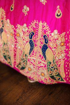 Looking for Bright pink lehenga with peacock embroidery? Browse of latest bridal photos, lehenga & jewelry designs, decor ideas, etc. Peacock Embroidery Designs, Embroidery Suits Design, Hand Work Embroidery, Embroidery Fashion, Latest Bridal Dresses, Indian Bridal Outfits, Gota Patti Saree, Lehenga Jewellery, Rajputi Dress