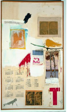 Robert Rauschenberg, Factum I. 1957, Combine painting: oil, ink, pencil, crayon, paper, fabric, newspaper, printed reproductions, and painted paper on canvas. 61-1/2 x 35-3/4'