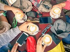 Group of friends drinking cappuccino at coffee bar restaurants - People hands with smartphones with upper point of view - Technology concept with addicted men and women - Soft vintage filter Work Friends, Group Of Friends, Restaurant Photos, Restaurant Bar, Steve Jobs, Coffee Type, Coffee Shop, Coffee Maker, Westfield Century City