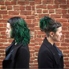 Cut and color from a couple weeks ago. Hyper green balayaged ombré with baby…