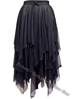 Dark Star Plus Size Gothic Black Lace Net Multi Tier Witchy Hem Skirt S-2X #DarkStar #GothicTiered