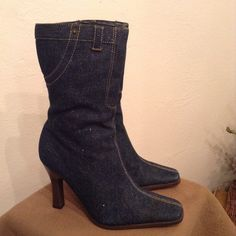 Cute Sparkly Denim Mid Calf Boots. Size: 5.5 Cute Sparkly Denim Mid Calf Boots. Size: 5.5 Shoes Ankle Boots & Booties