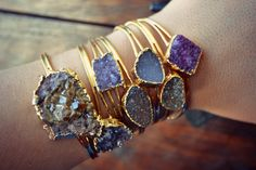 Raw gemstones set in gold. Gemstone jewelry. For more followwww.pinterest.com/ninayayand stay positively #inspired