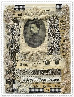 believe in your dreams ATC by saray-viola Mixed Media Collage, Collage Art, Collage Ideas, Altered Books, Altered Art, Blackwork, Believe, Fabric Postcards, Fabric Journals