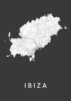 Ibiza island Black City Map is a modern island map of Ibiza, available in 12 different styles. € 19.95 - € 49.95! Worldwide shipping!