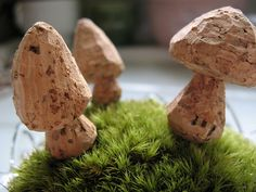 Wine cork mushrooms, carved with exacto.