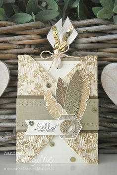 Stampin' Up! ... handmade card ... pocket card layout with a tag insert ... Four Feathers grouping of stamped and die cut feathers ... neutral colors ... fun combo of string, sequins and ribbon on the tag sticking up over the card ...