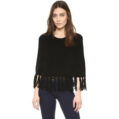 ThePerfext Cropped Cashmere Poncho with Fringe (9.122.025 IDR) ❤ liked on Polyvore featuring outerwear, black, cashmere fringed poncho, cashmere poncho and fringe poncho