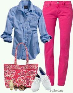 Chambray shirt, Fuchsia trousers, White sneakers - Casual Outfit