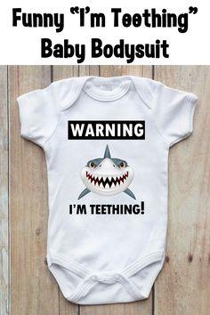 Shop Warning I'm Teething Funny Shark Baby Bodysuit created by Wild_Honey_Designs. Cute Baby Onesies, Baby Shirts, Cute Baby Clothes, Babies Clothes, Babies Stuff, Gender Neutral Baby Clothes, Thing 1, Funny Babies, Baby Bodysuit