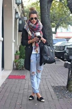 Boyfriend jeans, loafers, plaid scarf long cardigan sweater glasses style
