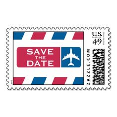 Air Mail Save the Date Postage Stamp