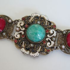 Vtg Austro Hungarian Art Deco Peking Carnelian Sugarloaf Glass Enamel Bracelet | eBay