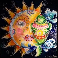 Ottilia Cormos - Sun & fish - hinterglasmalerei