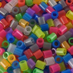Holed plastic cylinder beads melt easily Into a bead bowl!!
