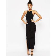 ASOS Maxi Dress with 90s High Neck (2.185 RUB) via Polyvore featuring dresses, black, bodycon maxi dress, halter top, tall dresses, high neck bodycon dress и halter dress