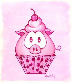 Big Pig Cupcake  Original Painting by MariaKingArt on Etsy, $80.00