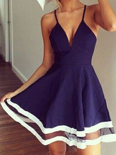 Navy Low-cut V-necked White Tulle Striped Hem Spaghetti Dresses on Nextshe are for sale now. Women's best choice about Navy Low-cut V-necked White Tulle Striped Hem Spaghetti Dresses. Become a fashion icon at once!
