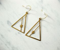 triangle earrings with stars