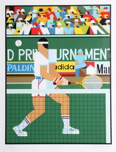 """For Sale on - """"Tennis Player,"""" Serigraph, Screen Print by Giancarlo Impiglia. Offered by RoGallery. Sports Graphic Design, Graphic Design Posters, Tennis Funny, Tennis Serve, Tennis Tips, Tennis Lessons, Carolina Hurricanes, London Underground, Tennis Players"""