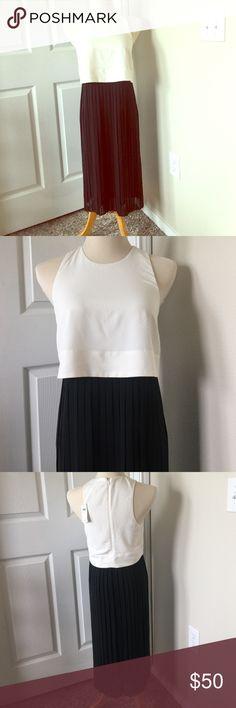 Banana Republic Black and white dress. NWT Size 2 NWT Banana Republic dress size 2. Smoke free home. Off white top and black pleat skirt. Below knee length. Banana Republic Dresses