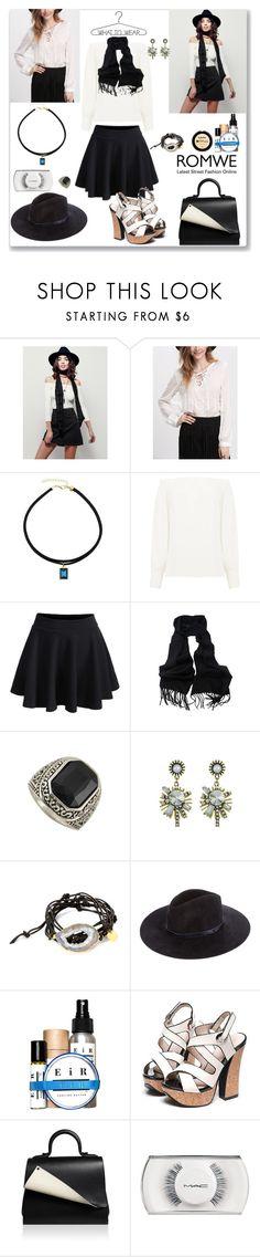 """Romwe Elastic Black Skirt"" by ludmyla-stoyan ❤ liked on Polyvore featuring Free People, Warehouse, Nina Nguyen, rag & bone, Perrin, MAC Cosmetics, black, skirt and romwe"