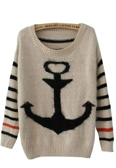 Black Striped Long Sleeve Anchor Print Mohair Sweater... it looks soft :0