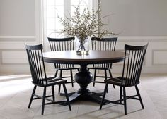 Cooper Round Dining Table with Berkshire side chairs, classic style Dining Room Sets, Dining Room Design, Dining Room Chairs, Dining Room Furniture, Side Chairs, Round Kitchen Table Sets, Black Round Dining Table, Black Table, Office Chairs