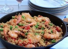 Quinoa & Shrimp Paella. High protein & fiber. Complex carb quinoa instead of rice. Low calorie dinners.