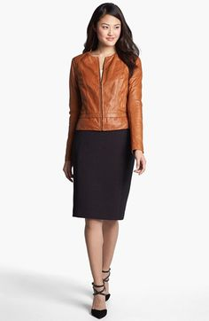 Halogen® Leather Jacket & Pencil Skirt  available at #Nordstrom