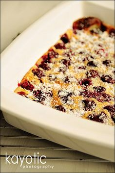 cherry and raspberry clafouti.  ever since my aunt made me a clafouti back in high school, i've been dreaming about them.  i should really just make one myself sometime to see if they're as good as my memory tells me they are.    edited to add:  nope.  at least not this recipe!  flat pancake, totally purple....  not sure why it didn't turn out, but it REALLY didn't.  gonna try martha stewart's recipe next.