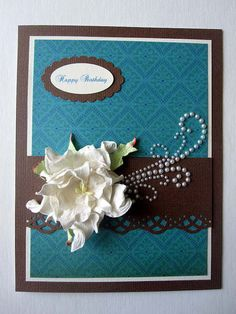 Birthday card for female teal and brown card by BellaCardCreations, $5.00