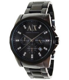 Armani Exchange Men s Black Stainless-Steel Quartz Fashion Watch bf8456dc27