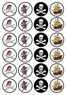 Pirate Edible PREMIUM THICKNESS SWEETENED VANILLA, Wafer Rice Paper Cupcake Toppers/Decorations
