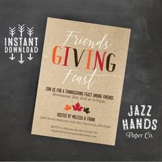 Friendsgiving Invitation  Friendsgiving Feast  by JazzHandsPaperCo