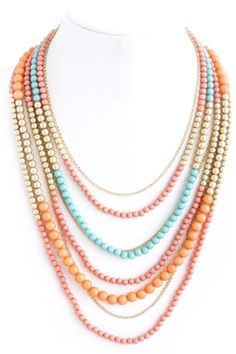 bright layered beaded necklace