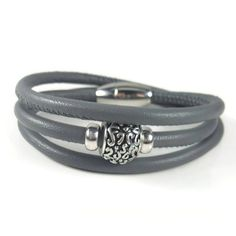 Grey Leather Wrap Bracelet Womens Leather by RealLeatherBracelets Grey Leather, Leather Jewelry, Anklets, Necklace Ideas, Bracelets, Earrings, Products, Bangle Bracelets, Ear Rings