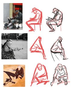 Figure sketches from people on the street, nice to see the development of the shape