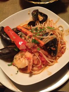 Seafood Pasta from Forage restaurant in Orangeville Ontario and it is yummy! Seafood Pasta, Looks Yummy, Japchae, Ontario, Restaurants, Spaghetti, Foods, Ethnic Recipes, Food Food