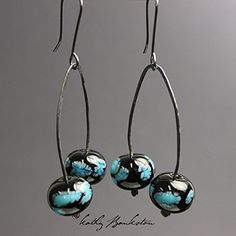 Black and Turquoise Bead Earrings