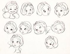 Facial expressions model sheet for Snow White and the Seven Dwarfs [1937]
