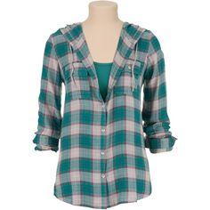 hooded button down plaid shirt