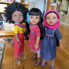 Rahel, Mosi, & Shola (Hearts for Hearts Girls) Nice to own this multiracial/multicultural doll line. Affordable (prices range from $24-30--unless you can't find them and must pay more from a reseller). Outfits available from Playmatestoys.com (the manufacturer) and other outfits available online. See my board and elsewhere for clothes patterns. $ donated to a girl-helping charity for each doll purchased.