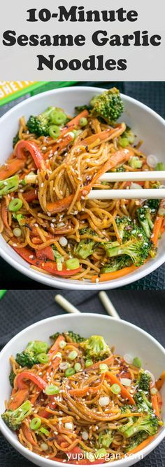 10 minutes of sesame-garlic-protein noodles! Vegan, gluten-free, ready in . - Diet tips - 10 minutes of sesame-garlic-protein noodles! Vegan, gluten-free, finished in … free - Asian Noodle Recipes, Veggie Recipes, Whole Food Recipes, Cooking Recipes, Healthy Recipes, Dinner Recipes, Kids Vegan Recipes, Vegetarian Rice Noodle Recipes, Vegan Asian Noodle Recipe
