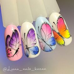 Красивые ногти. Маникюр. DivaNail Almond Nails Designs, Toe Nail Designs, Simple Nail Designs, Butterfly Nail Designs, Butterfly Nail Art, Summer Holiday Nails, Summer Nails, Nail Swag, Gel Nail Art