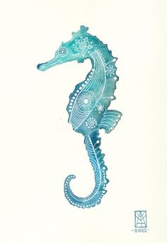 Inspiration photo for Phat Fiber's 'Horse of a Different Color' May 2014 Sampler Box. Turquoise Seahorse Archival Art Print.: