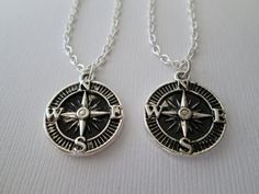 2 Compass Best Friend Necklaces by HazelSarai on Etsy, $20.00
