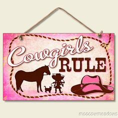 New Little Cowgirls Rule Sign Pink Plaque Western Cowboy Hat Horse Rope Decor | eBay