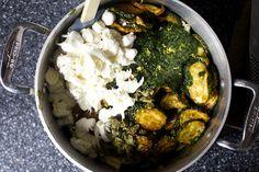 torn mozzarella, basil, fried zucchini, capers, zest
